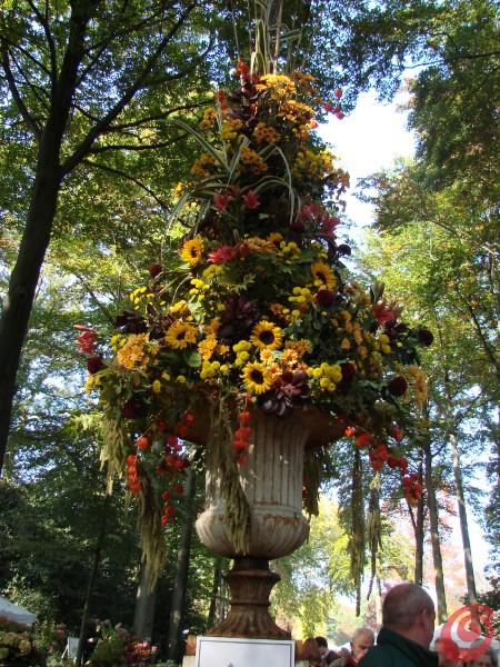 Una composizione floreale di girasoli alla fiera di giardinaggio di Beervelde