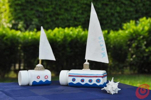 Due barche a vela fermatovaglia fai da te per la tavola decorata estiva