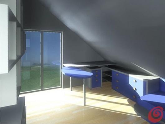 La panoramica virtuale verso la portafinestra e l'angolo studio