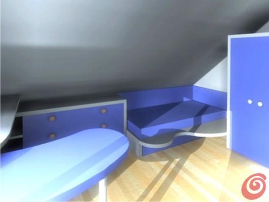 La panoramica virtuale della parte più scura della cameretta con l'angolo per il riposo