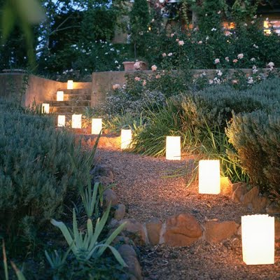 Le luci segnapasso per l'illuminazione del  giardino estivo