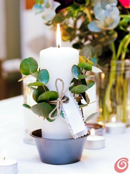 La candela decorata con un messaggio d'amore