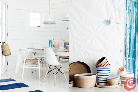 Arredamento interno in bianco e blu, Ditte Isager