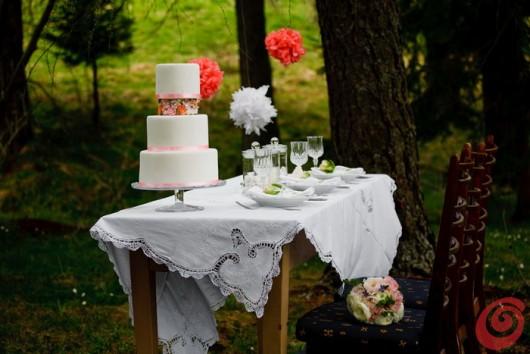 La tavola apparecchiata e decorata per un matrimonio un po' vintage, incorniciata dalla natura