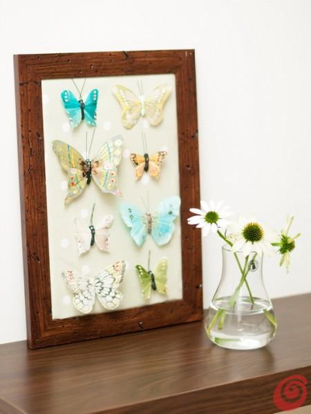 Ideja za dekoracijo: metulji v okviru