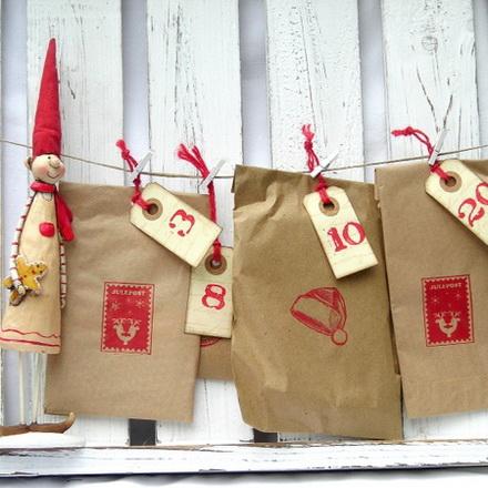 idee per il calendario dell'avvento, decorazioni natalizie fai da te