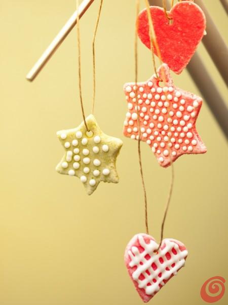 gli addobbi di Natale in pasta al sale - decorazioni natalizie fai da te