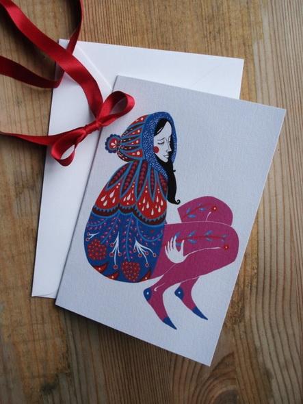 i biglietti per gli auguri natalizi e le civette di Karolin Schnoor, illustrazioni d'autore