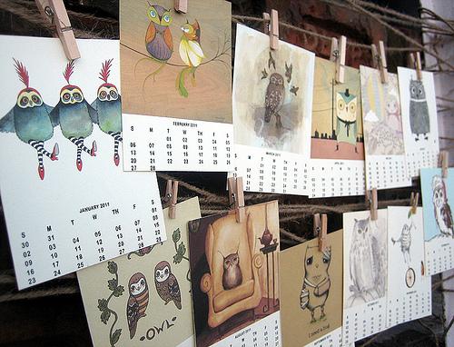 calendario con illustrazioni d'autore da personalizzare e stampare gratis per il 2011, free print