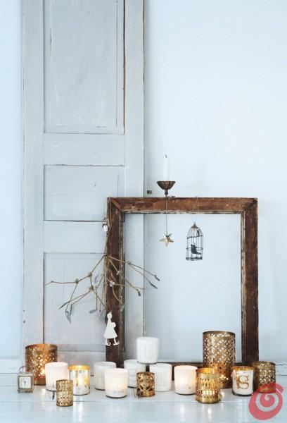 Walther & co., addobbi natalizi scandinavi con materiali e colori naturali, ali d'angelo, vecchi libri e cornici