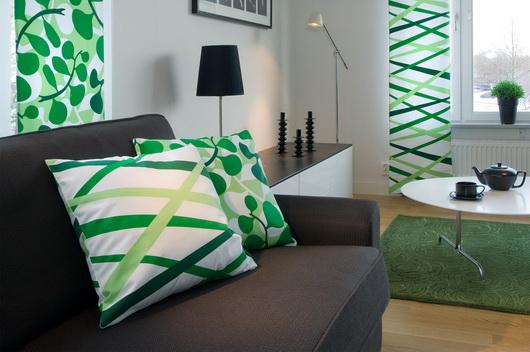 I colori primaverili come li vedono i produttori di tessili per la casa scandinavi: cuscini decorativi, tappeti, tende, tovaglie, rivestimenti. Come resistervi? Sofie Sjostrom
