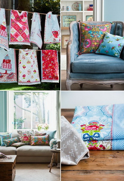 Fantasie allegre per gli articoli per la casa nei toni del rosa, del blu e del rosso. PiP studio.