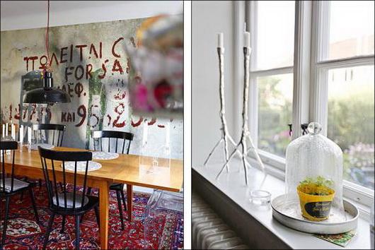 Un soggiorno con i graffiti sulle pareti