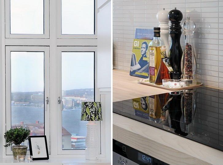 Romantično stanovanje z belo moderno kuhinjo