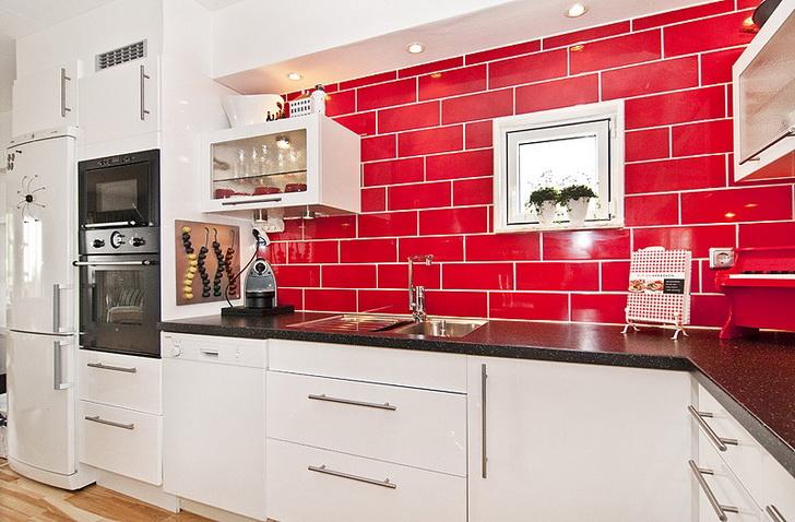 Moderne kuhinje in barve dom in stil - Cucina bianca e rossa ...
