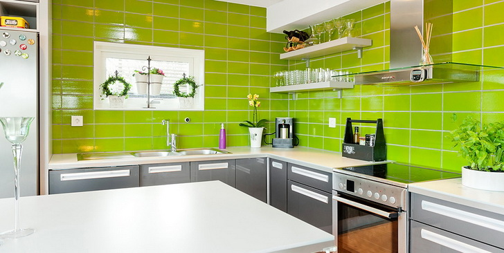 Awesome parete cucina verde acido ideas home interior - Pareti colorate per camerette ...