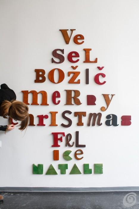 albero di natale parete tipografico typographic christmas tree