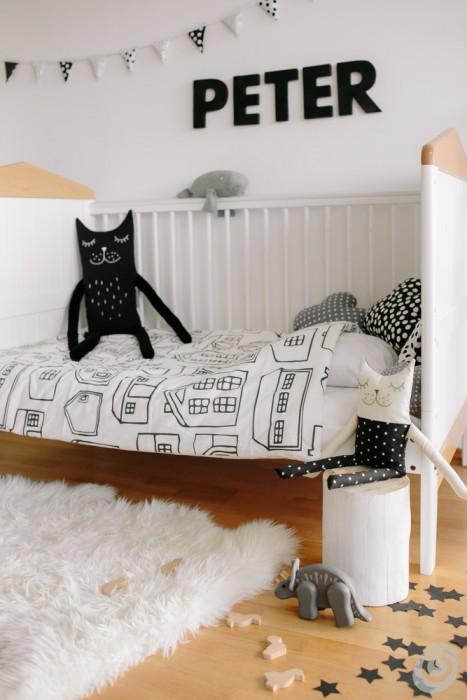 camerette bianco e nero nordic style kids room